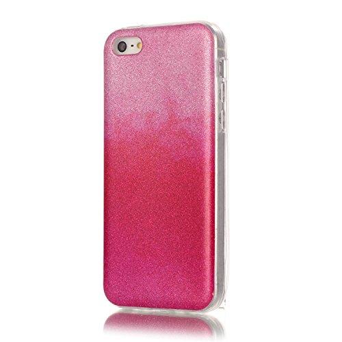 iPhone 5C Case,iPhone 5C Hülle - Felfy Apple iPhone 5C Ultra Slim Ultradünn Case Soft Gel Flexibel TPU Silikonhülle mit Bling Sternchen Gradient Farbe Design Protective Scratch Resistant Bumper Case B Rosa Rote Case