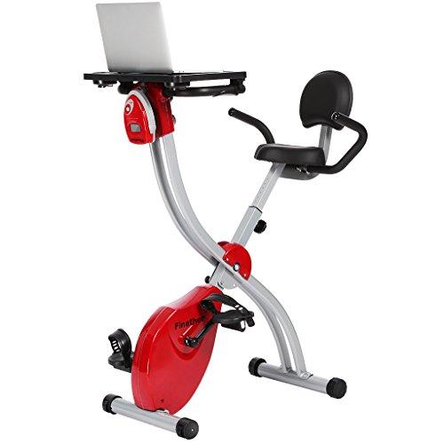 Finether Vélo d'Appartement Magnétique Pliable et Ultra Compact Vélo d'exercice, LCD Écran, Réglable Résistance, Poignées avec Fréquence Cardiaque, avec d'Ordinateur Table, Capacité 100 Kg