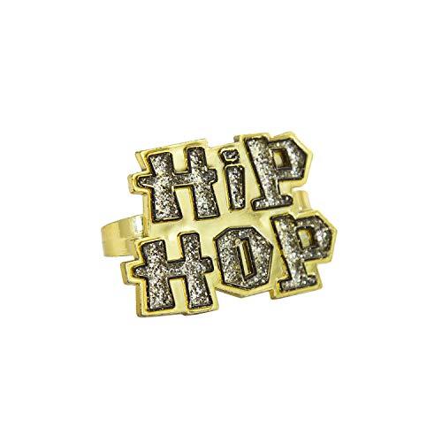 Oblique Unique® Hip-Hop Ring Gold mit Glitzer Effekt Schmuck für Hip Hopper Rapper Gangster Kostüm Fasching Karneval Motto Party Accessoire (Hip Hopper Kostüm)