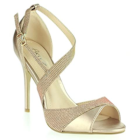 Femmes Dames Shimmery Orteil Ouvert Sangles Latérale Talons Hauts Stilettos Soir Fête Mariage Bal de Promo De Mariée Champagne Des sandales Chaussures Taille 37