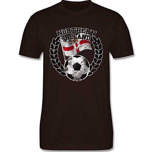 EM 2016 - Frankreich - Northern Ireland Flagge & Fußball Vintage - Herren Premium T-Shirt Braun