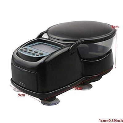 Haorw Fischfutterautomat Automatischer Fischfutterspender Batteriebetrieben Mit LCD-Display Und Saugnäpfen - 15x9x6cm