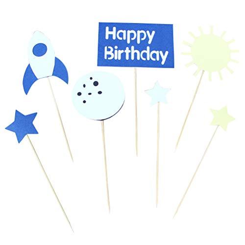 BESTONZON 2 Sets Weltraumthema Kuchen Topper Lovely Cake Picks Cupcake Decor Party Supplies für Geburtstag Baby Dusche