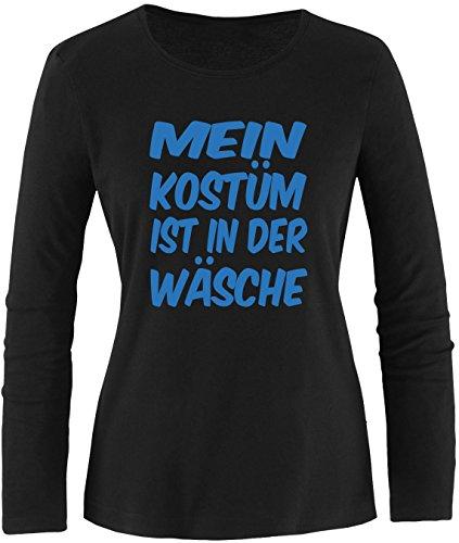 Luckja Mein Kostüm ist in der Wäsche Damen Longsleeve Schwarz/Blau