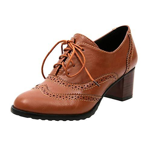 Damen Schnürhalb Schuhe Runder Kopf Einzelne Schuhe Hollow Schuhe mit Mittlerer Ferse Dicker Absatz Oxford Schuhe 3 Farben 35-43