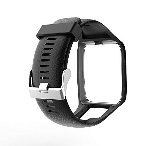Universel Bracelet, Tomtom2/3génération léger et souple doux et confortable respirant étanche en silicone montre bracelet de remplacement Band free size Noir