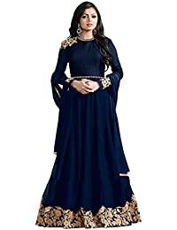 Ank Women's Banglori Georgette Embroidered Long Semi-Stitched Salwar Suit