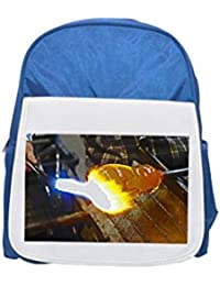 Sweden, Kosta glas bruk, person forming glas with hot flame printed kid's blue backpack, Cute backpacks, cute small backpacks, cute black backpack, cool black backpack, fashion backpacks, large fashio