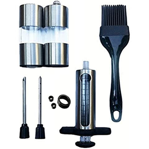 ekSel Marinade Injector Set with needles Stainless Steel plus BPA free Silicone Basting Brush and Pepper Mill & Salt Shaker by ekSel