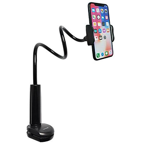 Tryone Schwanenhals Handy Halterung - der flexible Arm Halter Ständer für iPhone Serie/Samsung Handys/Google Pixel und mehr, 27,5 Zoll Länge -