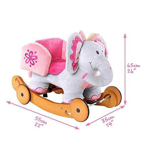 Labebe Baby Schaukelpferd Holz mit Räder, 2-in-1 Schaukelpferd Elefant&Schaukelpferd Rosa für Baby 1-3 Jahre Alt, Kleinkind Schaukel Baby/Schaukelpferd Pink/Spielzeug Schaukel/Schaukeltier Musik - 5