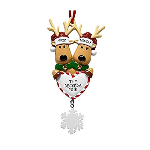 PERSONALISED REINDEER FAMILY OF 2 CHRISTMAS ORNAMENT BAUBLE TREE DECORATION: