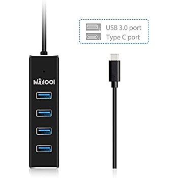 Data Hub 4 Porte USB 3.0 MILOOL USB 3.0 Hub di Trasferimento Dati 5Gb / s con Una Porta di DC e un Port-Type C Micro USB-Milool(Type C)