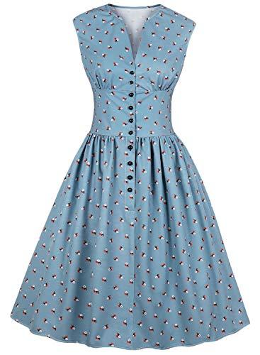 Alieyaes Damen Vintage 40er 50er Rockabilly Kleider Blumen Knielang Swing Partykleid - 40er Jahre Kleid Kostüm
