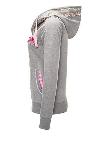 Hachiro Damen Sweatjacke Hoodie Sweatshirt Pullover (L, Light Grey Melange) - 2