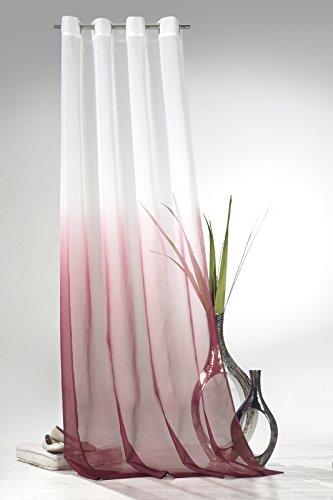 heimtexland Ösenschal mit Farbverlauf in beere HxB 245x135 cm Voile transparent - ÖKOTEX geprüft - Gardine Vorhang Dekoschal pink Typ501