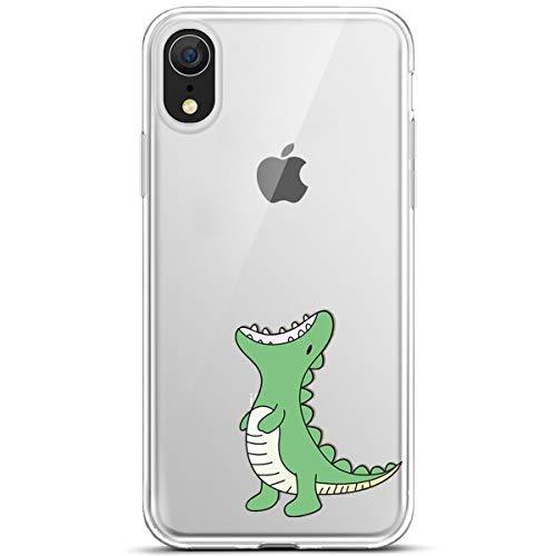JAWSEU kompatibel mit iPhone XR Hülle, iPhone XR Silikon Hülle Bunte Gemalt Muster Transparent TPU Silikon Schutzhülle Case Handytasche TPU Bumper Case Etui für iPhone XR,Grün Dinosaurier