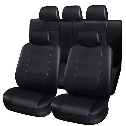 PU-Leder-Auto-Universalautositzbezüge Full Set Front und Rücksitz Protektoren Kfz-Zubehör Innenraum schwarz (Kfz-zubehör Seat Cover-sets)