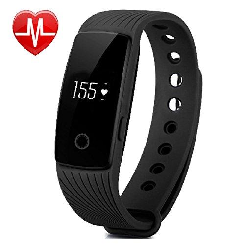 Fitness Tracker, AsiaLONG Fitness Armband mit Pulsmesser Herzfrequenz Aktivitätstracker Fitness uhr Pulsuhren Bluetooth Smart Armband Schrittzähler für iOS und Android Handys