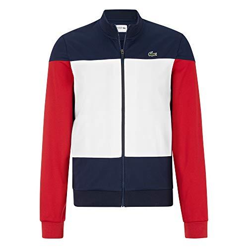 Lacoste SH3550 Herren Sweatjacke,Männer Sweatshirt Reißverschluss,Navy Blue/White-RED(Law),XXX-Large (8) (Kleid Pullover Red)