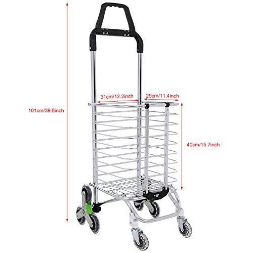 Simlive Tri-Wheel Folding Shopping Trolley Lightweight Stair