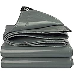 LXLA Bâche imperméable de PVC - Tarpauline résistante à la pluie d'épaisseur, toile de tente de protection solaire de feuille de rideau en pluie de balcon - 550g / (Size : 4m x 6m)