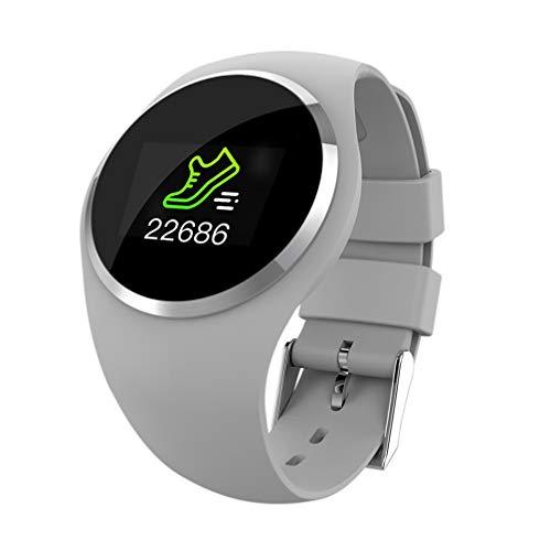 ATYBO Smart Watch Life Wasserdichtes Tragbares Gerät Smartwatch Fitness Tracker Anruferinnerung Herzfrequenz Runde Smart Watch Männer Frauen, Grau