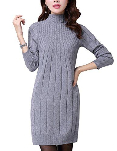 Cheerlife Herbst Winter Damen Strickkleid Langarm Sweater Tops Jerseykleid Feinstrick Kleid longpullover 3XL Grau