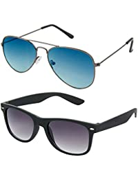 I DID Combo Of Silver Ocean Blue Aviator And Black Wayfarer Sunglasses For Men And Women With UV Protection(Avt_Ocean_Blue_Bk_Way)