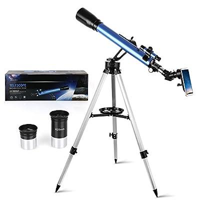 TELMU Télescope Astronomique Professionnel, Réfractant Ultra-Transparent de Haute Qualité, avec Portable Trépied, Adaptateur Smartphone, Observez Le Ciel de la Lune Étoile