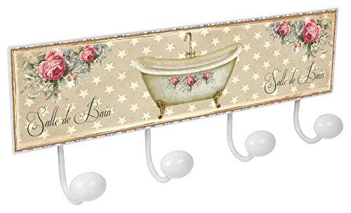 Lashuma Hakenleiste Badezimmer Wohnzimmer | 4er Haken Wandgarderobe 40x15,5 cm | Große Blechschild Garderobenleiste ()