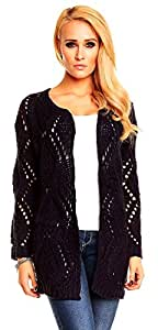 Cardigan en tricot à trous pour femme-bleu marine-taille 38–40–cardigan en tricot large