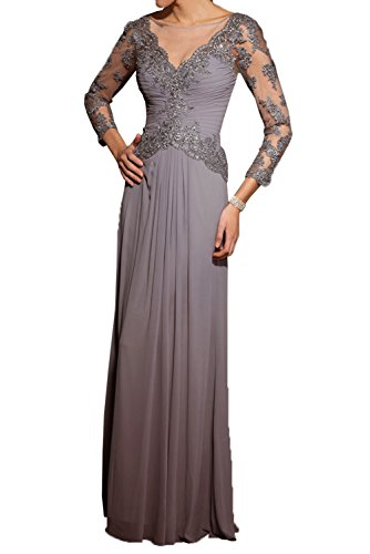 Milano Bride Grau Langarm Spitze Brautmutterkleider Abendkleider Partykleider Schmaler Schnitt Chiffon Kleider Grau
