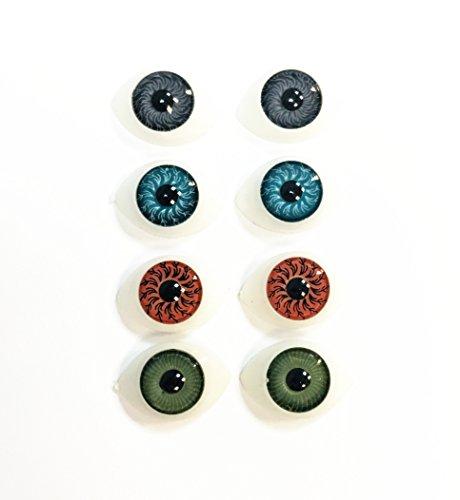 8 Stück 9mm Iris oval hohle Kunststoff Puppe dollfie Augen Augäpfel 11x16mm SM2