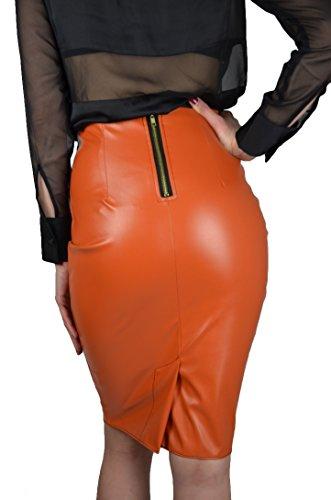 Masemu Kunstlederrock Rock Bleistiftrock Lederlook Lederimitat orange rot Clementine Orangerot