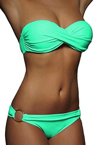 ALZORA Twist Push Up Bandeau Bikini Set Damen Pushup Badeanzug viele Farben und Größen (M, Blau)