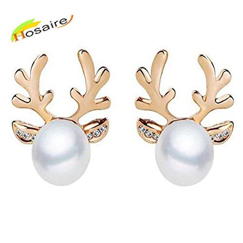Hosaire Damen Ohrringe Kreative Elchgeweihe Form mit Perle Anhänger Ohrringen Frauen Schmuck Zubehör Weihnachten Legierung Ohrhänger für Weihnachten Geschenk