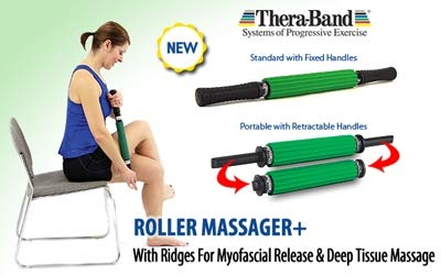 TheraBand Roller Massager +, Portable Muscle Rolling Stick with Retractable Handles for Self-Myofascial Release, Deep Tissue & Trigger Point Massage, Gifts for Runners, Athletes, Crossfit