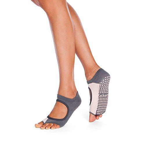 Tucketts Womens Yoga Toe Socks, Toeless Non Slip Skid Grippy - Allegro Style (Graue Röte) (Non-slip)