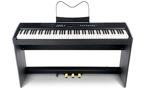 McGrey SP-100 Compact Piano Set (portables E-Piano mit 88 Tasten, Hammermechanik, Kopfhöreranschluss, Aufnahmefunktion & passendem Unterbau mit 3 Pedalen) schwarz