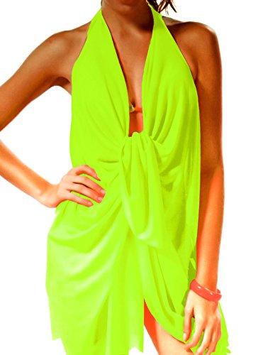 if she Damen Pareo Strandkleid Beachkleid verwandelbar in Verschiedene Formen mit Schnalle, Farbe:Neongelb