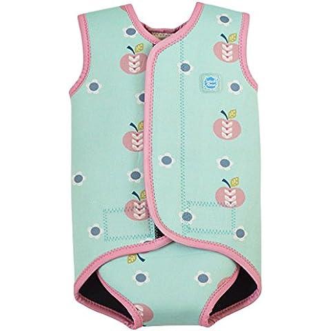 Splash About Baby Wrap - Traje de neopreno para niños, color azul cielo, con diseño de manzanas y margaritas, 6-18
