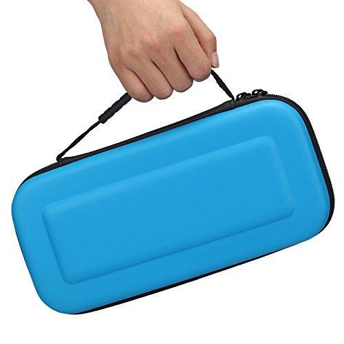 elementdigital Nintendo Schalter Travel mit Schutzhülle schützende Aufbewahrung Tasche Tragetasche mit 10Kartuschen Spiel Kartenhalter Slots Blau