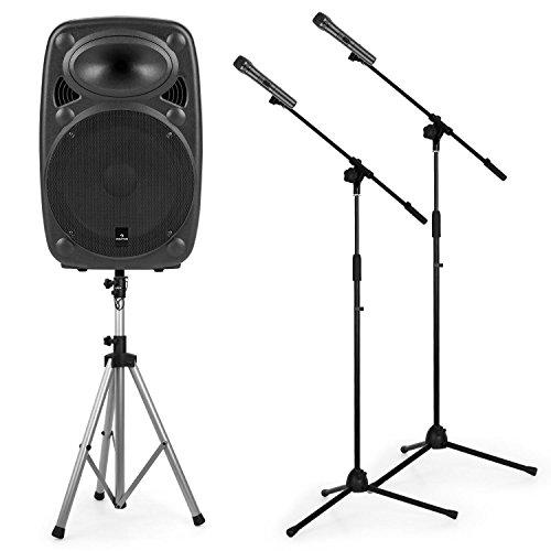 auna Streetstar 12 • PA-Anlage Set • mobile PA Lautsprecher Box • 40 W RMS • Subwoofer • Hochtöner • Bluetooth • USB/SD-Port • AUX • 2 x UHF-Funk-Mikrofon mit 2 x Mikrofon-Stativ • Akku • schwarz