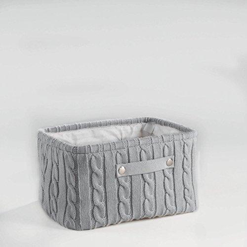 Homea Lainy Korb aus Strick und Kunststoff 36x 26x 20cm, Kunststoff, grau, 36 x 26 x 20 cm