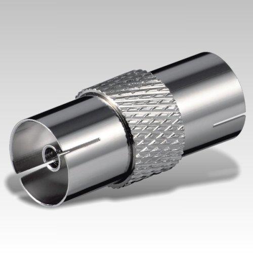 Antennenadapter Koax-Übergangsstück Buchse auf Buchse , Metall, (2 x IEC-Kupplung)