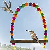 Humming Bird Swing Perch-tassello di legno makes for Perfect Resting spot-Birds consente di orologio e guardia loro cibo fonte-attraente perline colorate aggiunge Charming Accent al giardino