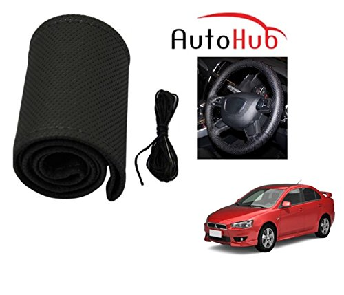 Auto Hub Premium Quality Car Steering Wheel Cover For Mitsubishi Lancer - Black  available at amazon for Rs.199
