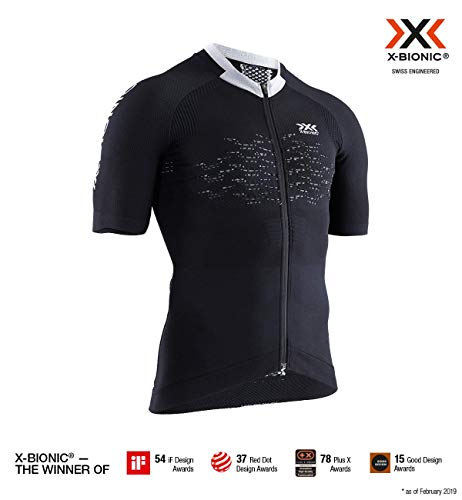 x-bionic the trick 4.0 bike zip shirt short sleeve men, uomo, opal black/arctic white, l