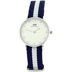 Daniel Wellington Frauen Armbanduhr, Weißes Zifferblatt, Quarzuhrwerk, blau und weiß, Nylon-Band, Armbanduhr 0928DW